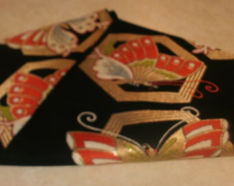 Vintage Silk Obi Belt - Butterflies & Geometrics