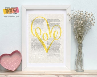 Love poster - Love letter - Valentine's day gift - Yellow - Heart - Book page - Instant download - printable - cute - chic - pretty