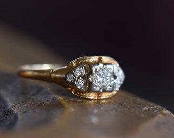 14/18 Karat Yellow Gold Vintage Diamond Band, US Size 6.75, Used Gold Ring