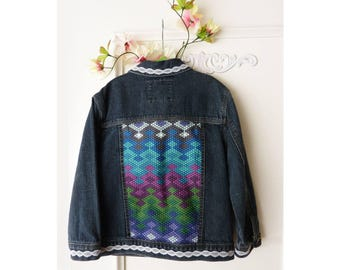 5T Girls  denim jacket, Upcycled, Girls jean jacket, cotton denim, lace trim, Oshkosh denim jacket, sequin accent, geometric applique, ooak