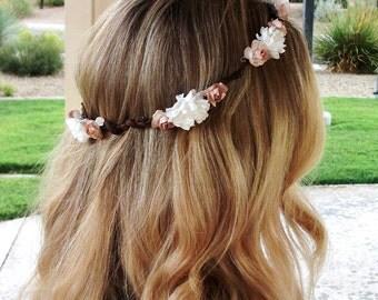 White flower hair crown, adult flower crown, adult hair crown, tan and white hair crown, floral crown, simple hair crown, head wreath white