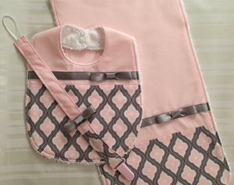 Baby Girl Bib Pink and Gray Bib Set - Pink Baby Bib - Burp Cloth - Binky Clip - Soft Block with Bell Inside- Cute Baby Shower Gift