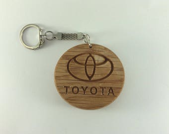 TOYOTA Car Logo Wooden Keyring Keychain Fob * Can be PERSONALISED *
