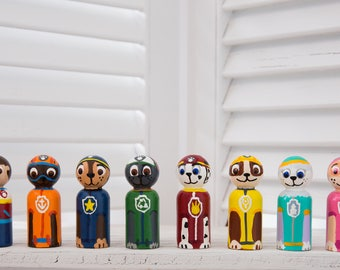 Paw Patrol Inspired Wooden Peg Dolls, Hand Painted Peg Dolls, Wooden Peg Dolls, Handmade Dolls, Waldorf, Steiner, Natural toys, Story