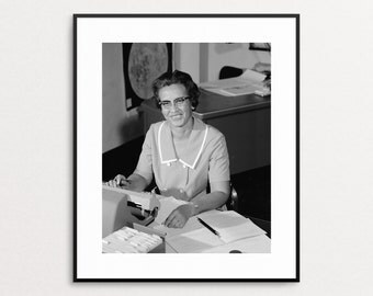 Katherine Johnson at NASA - Vintage Photo - African American - Physicist-  Scientist - Hidden Figures - Wall Art - Print - Mathmetician