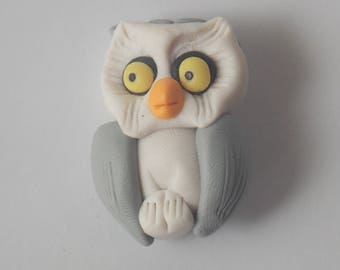 Poland Clay Owl Brooch, Clay Brooch, Poland Brooch, Made in Poland, Owl Jewelry, Hand crafted, Owl Pin, Clay Pin