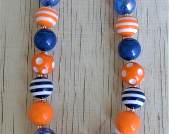 Football orange and blue Broncos stretchy bubblegum necklace w/ Rhinestone  pendant gumball necklace photo prop girl's jewelry chunky