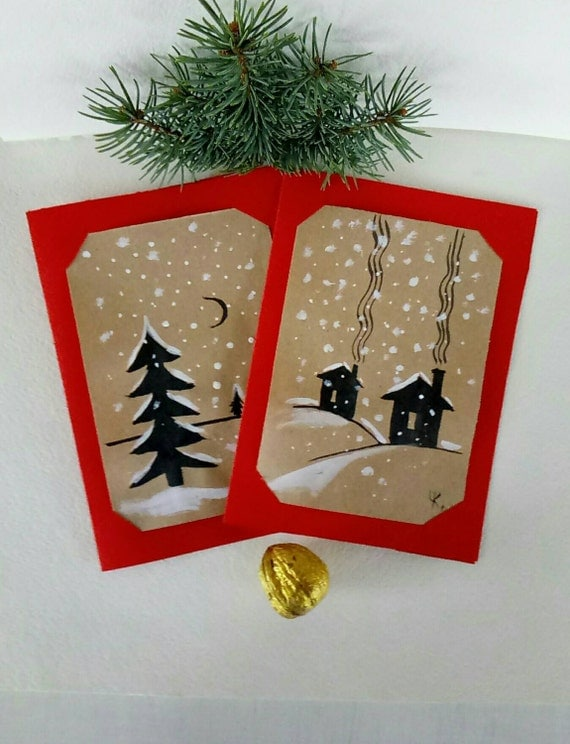 Greeting card hand painted winter card by artkarinastudio for Painted christmas cards