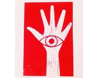 The Eye in Hand Lino Print | Art | Illustration | Decor | Wall Art | Unusual | Superstition