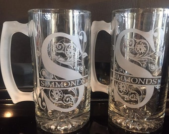 Custom/personalized set of 2 etched large glass beer mugs with split monogram