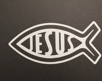 Christian decal, Jesus Fish Decal, Jesus Fish Sticker, Christian Fish Symbol, Religious Fish Decal, Religion, Jesus, Faith, ready to ship