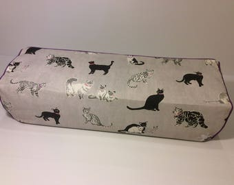 Cricut Explore/ Air/ Air 2/ One Custom Handmade Dust Cover Grayscale Cats with Purple Piping