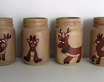 Hand-Painted Rudolph themed pint  jars, Pick 2, Mix and Match with other listings!