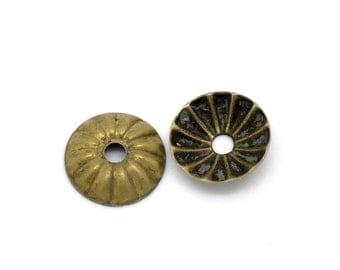 50 fine bead caps in bronze 6 mm