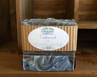 Soap for Men in Teakwood Scent, Masculine Scented Soap, Natural Men's Soap, Aloe Vera Men's Soap