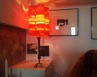 Vintage 1960s Orange Plastic Lamp Shade - Flat Pack Lampshade - Scandinavian Design - Retro Mod Panton Kartell Era