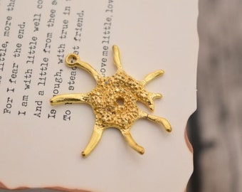20 sea anemone charms gold charm pendants