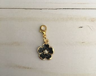 Black Dainty Flower Charm