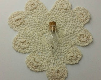 Wishes in a bottle pendant mini glass bottle with dandelions inside, comes with hemp cord (#2)