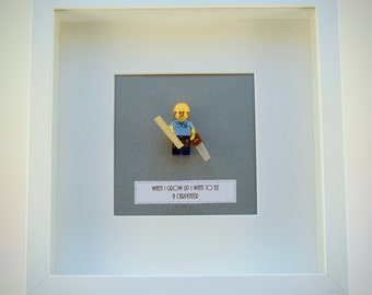 When I grow up I want to be..... A Carpenter LEGO mini Figure framed picture 25 by 25 cm