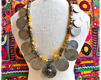 Mega Kuchi Coin & Recycled Sari Silk Necklace/Boho Head-Dress