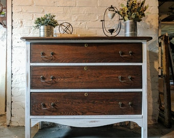 SOLD: Antique Oak Dresser / Changing Table