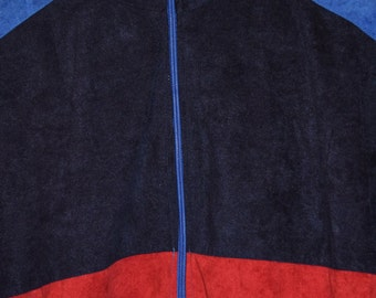 vintage 80s velour jacket midnight blue red black hipster