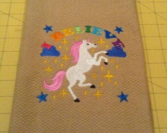 I BELIEVE IN UNICORNS! Rainbow Colors on a Tan Martha Stewart Collectible Embroidered Kitchen Hand Towel 100% cotton, 20 x 30