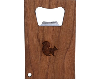 Flying Squirrel Bottle Opener With Wood, Stainless Steel Credit Card Size, Bottle Opener For Your Wallet, Credit Card Size Bottle Opener