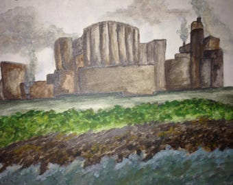 Original Watercolour painting of Wylfra Power Station, Anglesey.