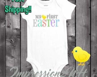 my first easter baby onesie, easter onesie, easter bodysuit, baby onesie, 1st Easter shirt