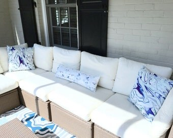 Designer Outdoor Pillow Cover, Throw Pillow Patio Porch Cushion Cover  Indoor Outdoor Use Blues,