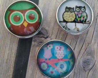 Interchangeable Snap Button Jewelry Owl Set of 3, #e-156