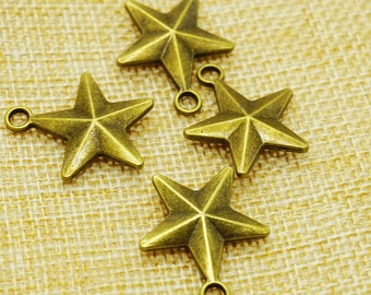 Star Charms -20 pieces Antique Bronze Empty Stars Charm Pendants 24mm x 21 mm (501-14-A)