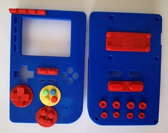 CASE Pocket PiGRRL 2 Raspberry Pi Game Console with color buttons PRINTED 3D PLA. Nintendo-Game