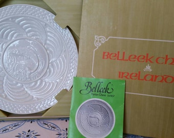 Vintage Belleek 1978 Leaping Salmon Christmas Plate First Edition Second Series made in Ireland
