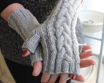 Knit Fingerless Gloves for Her, Knit Gloves for Her, Grey Gloves, Gloves Fingerless, Valentines Day Gift for Her, Arm Warmers, Cable Knit
