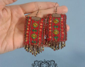 """Tribal Earrings """"Red and bronze"""""""