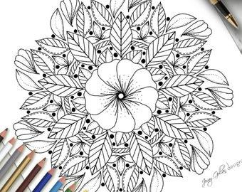 Adult Colouring Page Simple Mandala