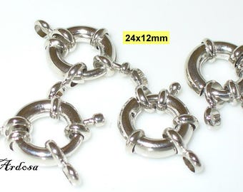 4 spring ring closures with eyelets silver 12x24mm (K111. 22)