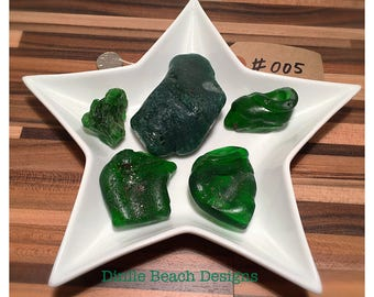 Rare vintage emerald green large bonfire sea glass collection