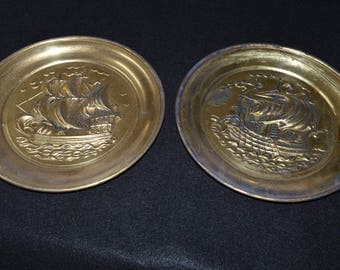 Vintage Peerage Brass Wall Plates, Peerage Made in England, Spanish Galleon Motif, Embossed Wall Plates, Brass Ship Plaques, Nautical Decor