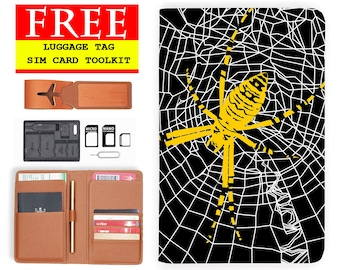 leather passport cover RFID blocking classic leather travel wallet spider net yellow