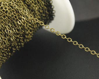 16Ft Bronze Cable Chains, 2mm Cable Chains, 1.5mm x 2mm Chains, Craft Brass Chains.