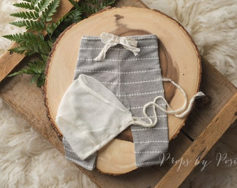 Newborn Photography Prop - Grey and White Stripe Pants with Coordinating White Mohair Bonnet