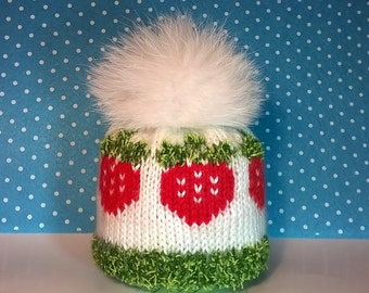 Blythe Hat With Pompom,Handmade Knitted Cap, Blythe Outfit, Blythe Doll Clothes, Blythe cap with fur pompom, cap with strawberry