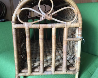Vintage Rare 60s Mid Century WIcker/Rattan Pet Carrier/Crate