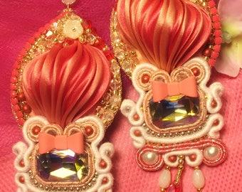Shibori silk soutache and crystal earrings