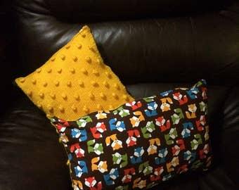 2 x Hand knitted 'fox' Bolster Cushions