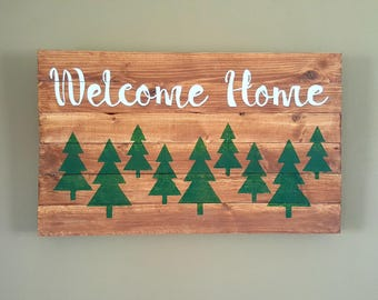 Welcome Home Sign with Trees